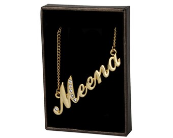 Name Necklace Meena - Gold Plated 18ct Personalised Necklace with Swarovski Elements
