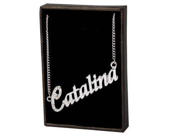 Name Necklace Catalina - Gold Plated 18ct Personalised Necklace with Czech Rhinestones