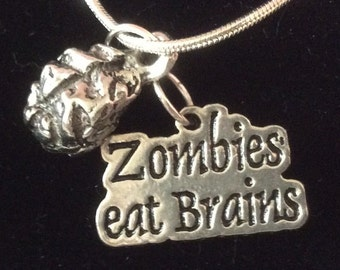 "Zombies Eat Brains, complete with the Brain. On a 25"" (approx) chain."