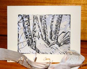 Winter Birch Trees print