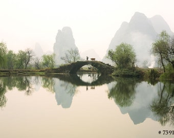 Nature landscape photography - Stone Bridge in Guangxi Province, China. Home and Office wall art decor photographic print.
