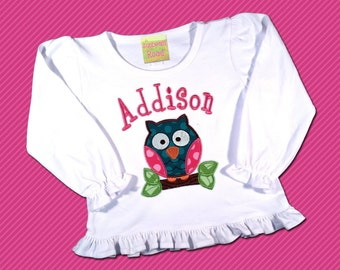 Girl's Owl Shirt with Pink and Teal Polka Dots and Embroidered Name
