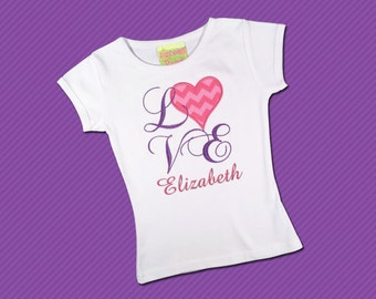 Girl's Valentine Shirt LOVE Pink Chevron Heart with Embroidered Name