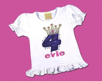 Girl's Birthday Shirt with Crown, Sparkly Number and Embroidered Name