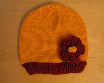 Knit Baby Hat - Simple Rib Edged Hat with Flower - 6 Months