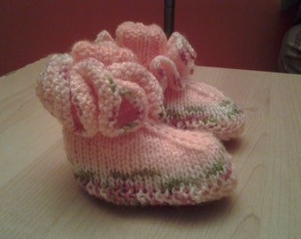 Knit Baby Booties - Ruffle Around Baby Sock Booties - 3-6 Months