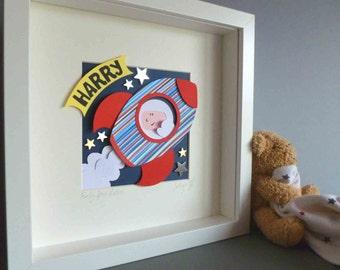 Personalised Baby Kids Children's picture - Space Rocket 3D Framed Handmade Paper Artwork