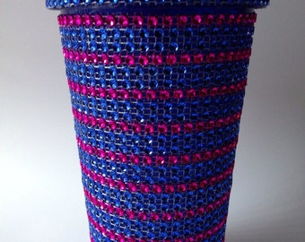 Blue and pink bling tumbler