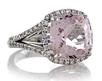 Morganite Engagement Split Shank Ring 3.45ct Cushion Cut Pink Ring .58ct Natural Diamond Halo Ring White Gold Pristine Custom Rings