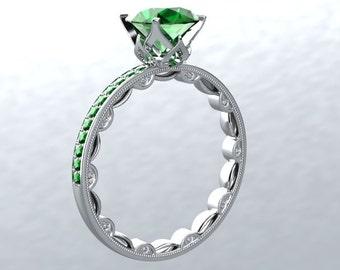 Engagement Ring 14kt White Gold Round VVS Emerald or Princess Cut 1.40ct Natural FSI1 Diamond Engagement Wedding Ring Modern Chic Love Inspi