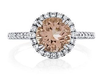 Morganite Engagement Ring 14kt White Gold 2.44tw 8mm Round Center Genuine Diamonds Halo Engagement Ring Wedding Ring Anniversary
