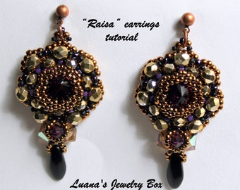 "Beading tutorial for ""Raisa"" earrings. Marilyn / Mirrors mirrors pattern adapted for 14 mm Rivoli"