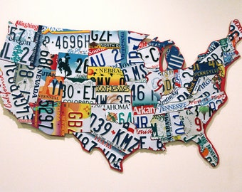Unique License Plate USA Map