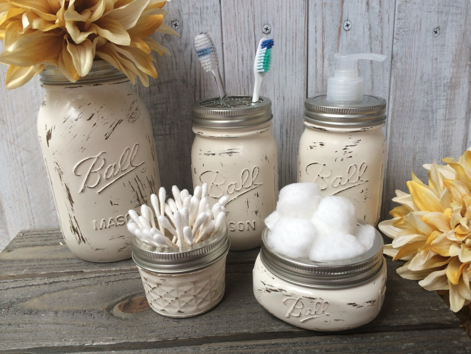 Mason jar bathroom setball mason jartoothbrush for Bathroom decor mason jars