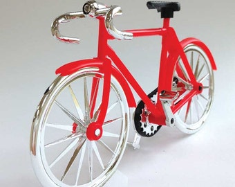 Red Bicycle Cake Topper, Retro Bike, Miniature Plastic Bicycle, Summer Centerpiece, DIY 4th of July Patriotic Decor, Summer Birthday Cake