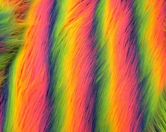 Stripe rainbow fake fur, 4 inch pile. Sold by the yard.36x60 inches.