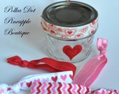 Elastic Hair Tie Storage-Valentines Day Gift-FOE Elastic Hair Ties-Hairties-Girls Hair Ties-Ponytail Holders-Yoga Hair Ties-Jelly Mason Jar - PolkaDotPineappleB
