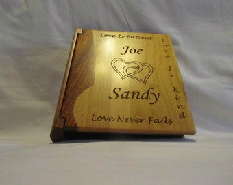 "Custom Engraved Wooden Wedding Photo Album ""Joined Hearts"" - Large"