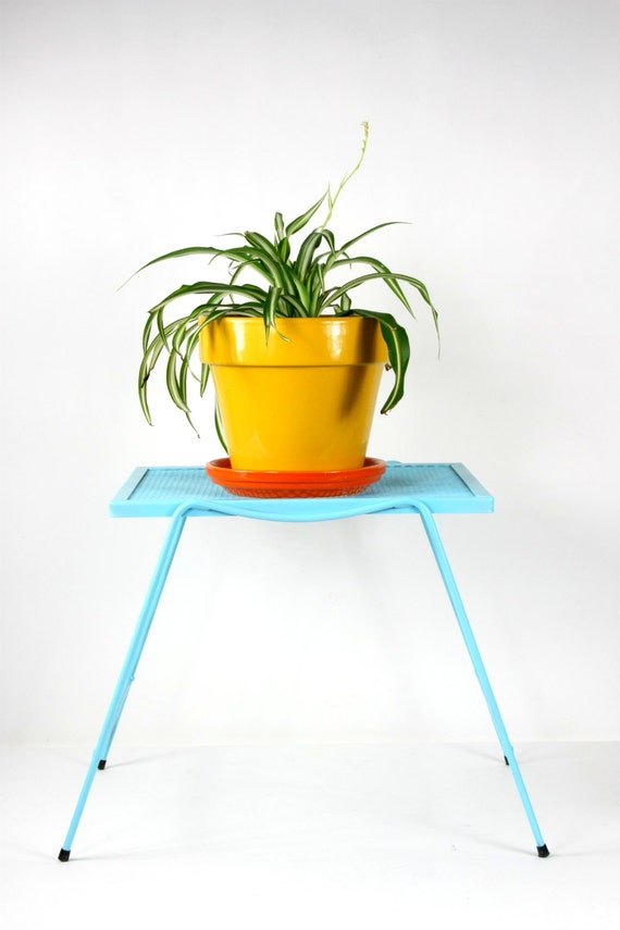 Metal Plant Stand Table Sky Blue 1970s Indoor/Outdoor Table