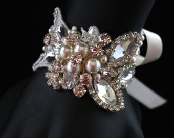 Amelia Bridal Cuff, Wedding Bracelet