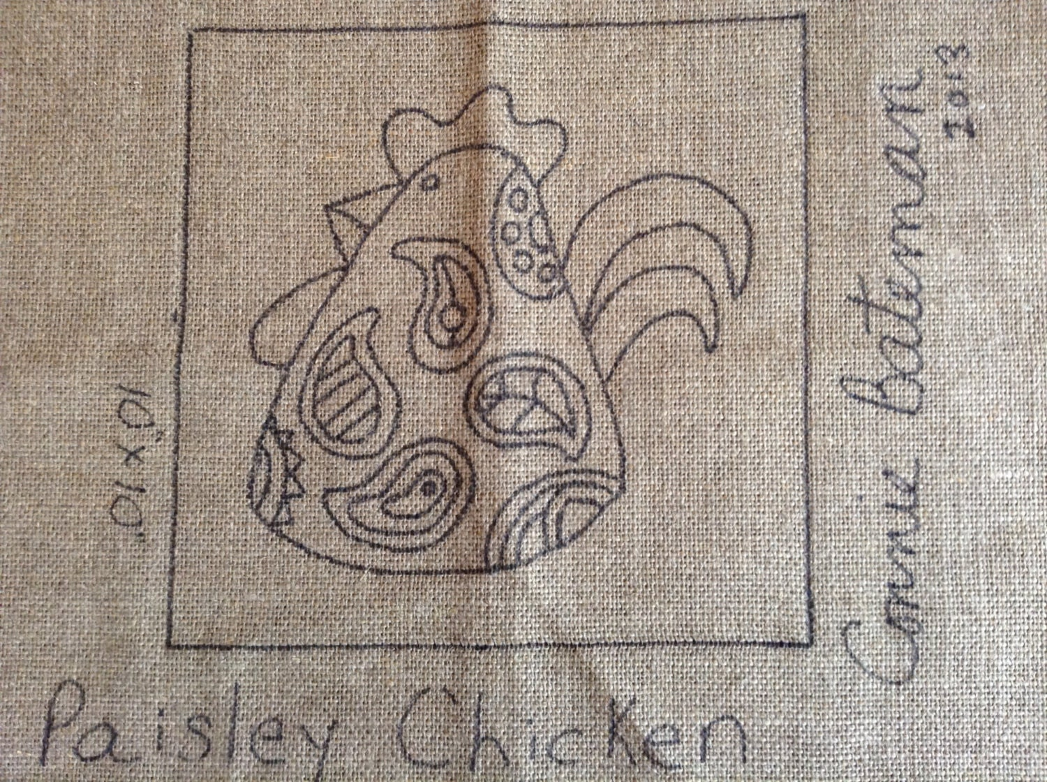Paisley Chicken Rug Hooking Pattern 10x10