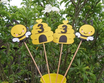 Bumble Bee & Honeycomb - Table Decorations - Set of 4