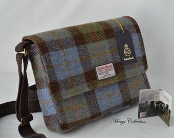 Harris Tweed Pure Wool Tartan Check McLeod Designer Messenger Satchel Bag