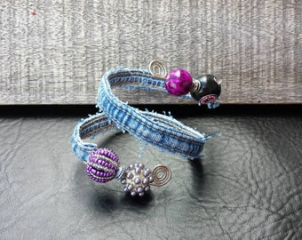 Upcycled unique one of a kind recycled denim around wire with purple beads bracelet