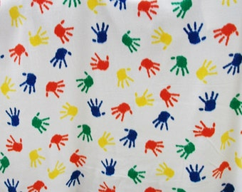 On Sale!!Multi Colored Hand Prints Fleece Fabric By The Yard