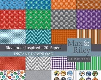 20 Skylander Inspired Digital Paper pack INSTANT DOWNLOAD for scrapbooking, card making, digital scrapbooking, dots, stripes, chevron paper
