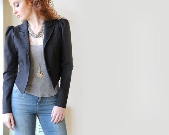 Women Black Jacket / Silver Lurex Threads Jacket / Long Sleeves Jacket / Tab Collar Jacket / Puffed Sleeves / Office Wear / Women Clothing