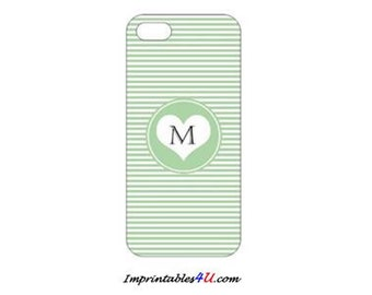 Custom Monogram-Green case for iPhone 5/5S smartphones.