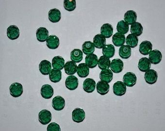 4mm Genuine Swarovski Emerald Crystal Art. 5000 Round Faceted Beads (12 pieces)