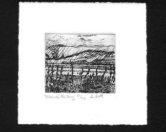 View of the Bay  - Original Etching & Engraving, Hand-printed, Limited Edition