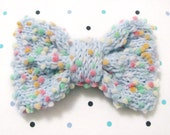 Blue and rainbow pom pom bow hair clip/barrette large