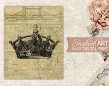 Printable Illustration Antique Crown Victorian Era - French Digital Print Art - Download Crown on Map Print - 8x10 Art INSTANT DOWNLOAD