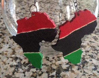 Hand Painted Red, Black and Green Africa Shaped Earrings