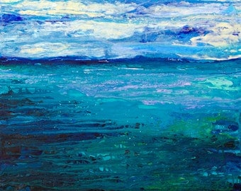 """Ocean - Original 24""""x24""""x1.5"""" Acrylic Painting/Mixed Media on Gallery Wrapped Heavy Duty Canvas"""