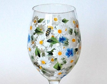 Hand Painted Wine Glass White Daisies Forget-me-not Flowers Bees Hand Painted Glassware Stemware Hand Painted Wine Glasses Painted Glass