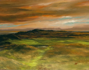 "Golf Art. Golf Painting. Golf Gift. Royal Troon Golf Club, ""The Postage Stamp"". Print of original acrylic painting."
