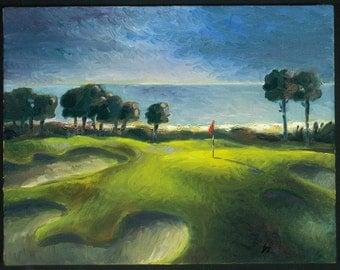 "Golf Art. Christmas Gift. Robert Trent Jones Golf Club, Palmetto Dunes, Hilton Head - ""Out to Sea"". Print of original oil painting."