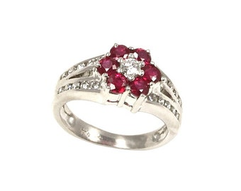 Ruby and Diamond Cluster Ring in 18kt White Gold (Small) - 2 1/2 US