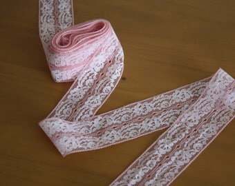 Vintage Pink Polyester Lace Trim