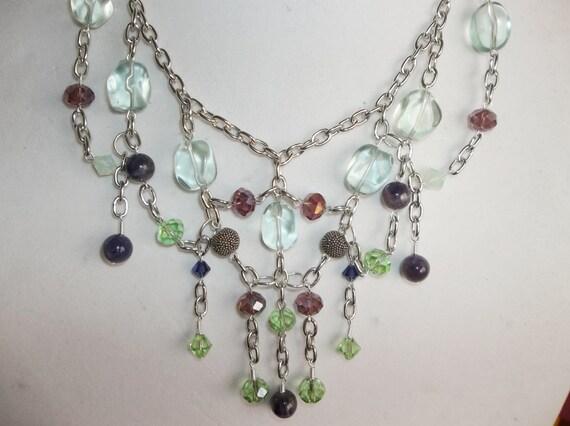 Green and Purple Bib Statement Necklace