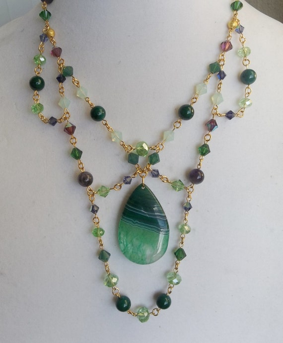 Swarovski Crystal Bib Statement Necklace with Green Druzy Agate Focal Stone