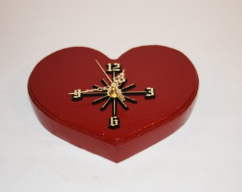 Wooden Red Heart shaped wall clock with Seiko movement