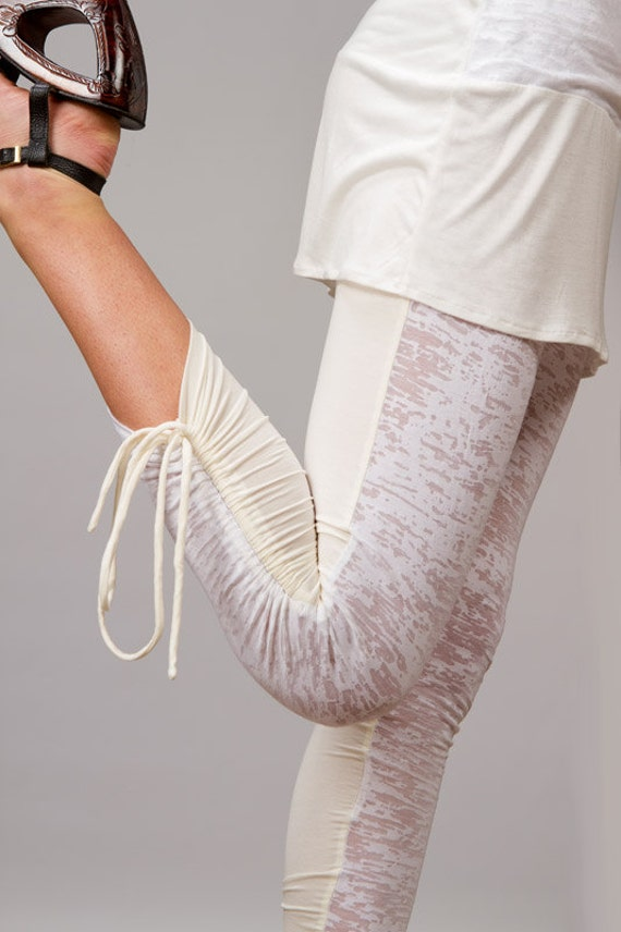 Calico Ruched Leggings with Side Ties in White for Womens Fashion  Boho Chic Festival Wear Yoga Wear Wholesale