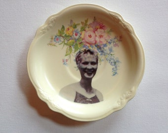 feisty mama - altered vintage plate