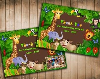 Jungle Animal Safari Thank You Card  With and Without  Photo - Printable DIY
