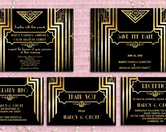 Great Gatsby Style Art Deco Wedding Invitation Suite with Save The Date, Registry Info, Reception, Thank You Card - 1920's Style - Printable